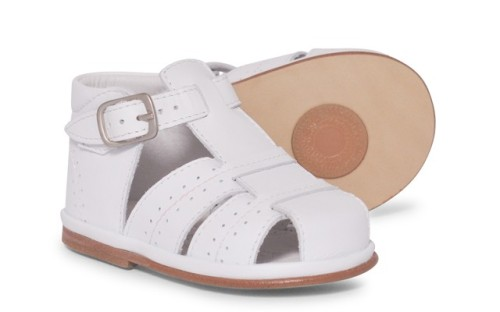 Boys Leather Sandals  3320 Wide Fitting - White