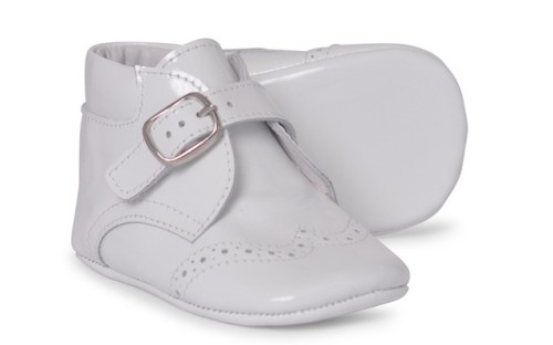 Baby Boys Soft Sole Patent Boot 1173 - White