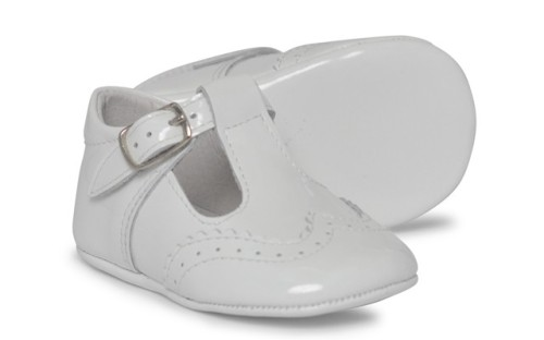 Baby Boys Soft Sole Patent T Bar 104 - White