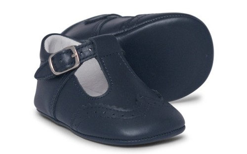 Baby Boys Soft Sole T Bar 104 - Navy Leather