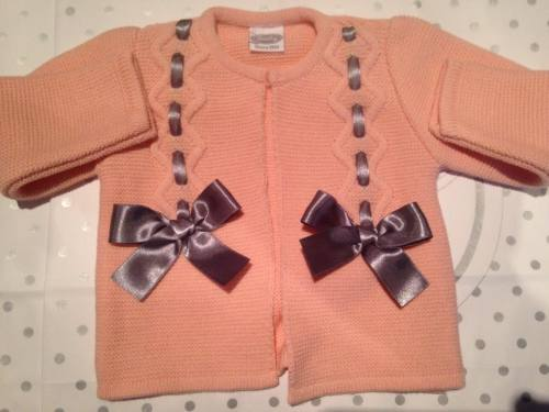 Girls Rochy Bow Cardigan - Melon and Silver