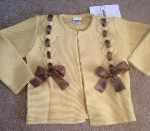 Girls Rochy Bow Cardigan - Mustard and Chocolate