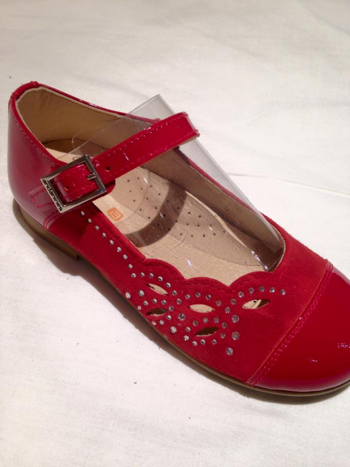 Girls Andanines Red Patent and Suede Shoes