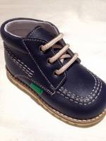 Boys Andanines Navy Leather Lace Boots
