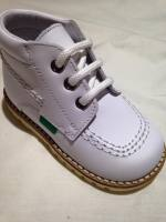 Boys Andanines White Leather Lace Boots