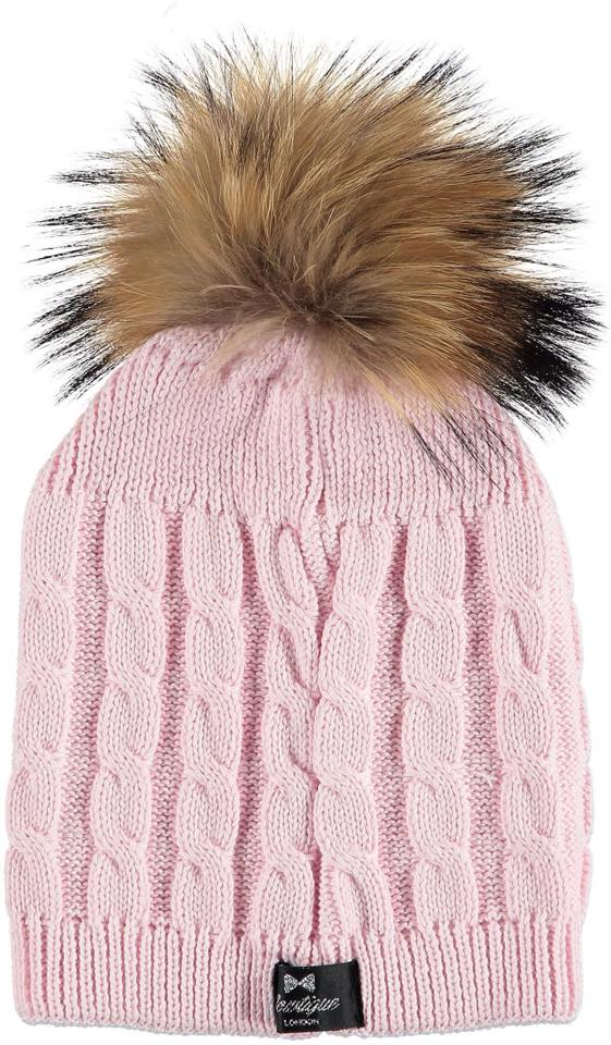 Bowtique London Fur Pom Pom Hat - Pink Twist with Natural Fur