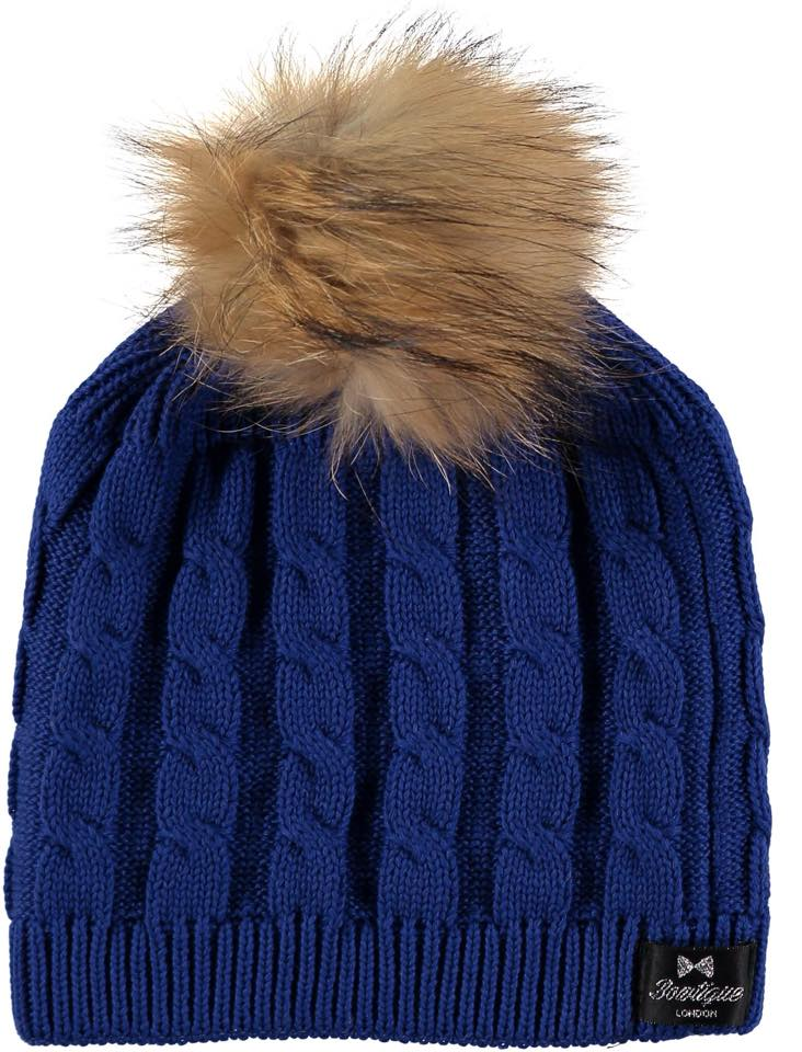 Bowtique London Fur Pom Pom Hat - Royal Blue Twist with Natural Fur