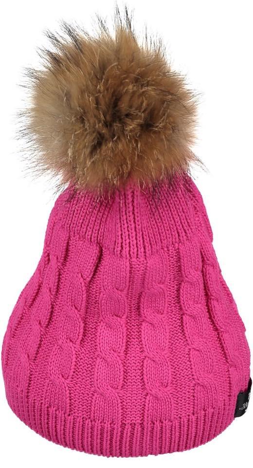 Bowtique London Fur Pom Pom Hat - Fuscia Twist with Natural Fur