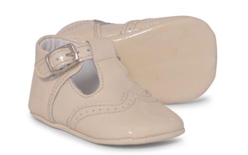 Baby Boys Soft Sole T Bar 104 - Cream Patent