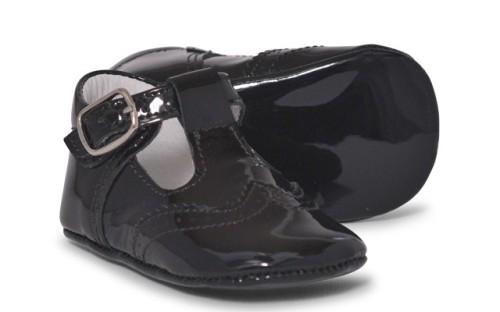 Baby Boys Soft Sole T Bar 104 - Black Patent