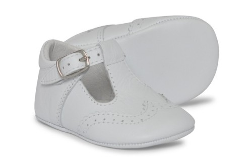 Baby Boys Soft Sole T Bar 104 - White Leather