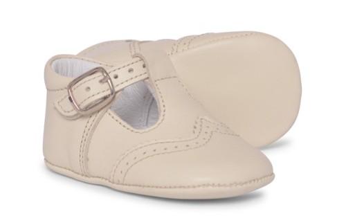 Baby Boys Soft Sole T Bar 104 - Cream Leather