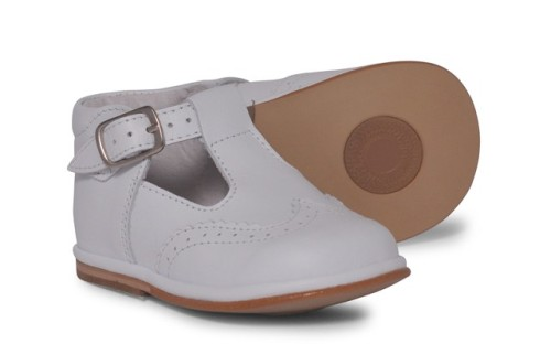 Boys Leather T Bar Shoes 2113 - White (Wider Fitting)