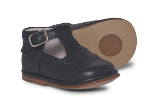 Boys Leather T Bar Shoes 2113 - Navy (Wider Fitting)