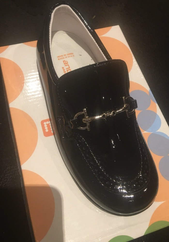 Boys Andanines Black Patent Shoes