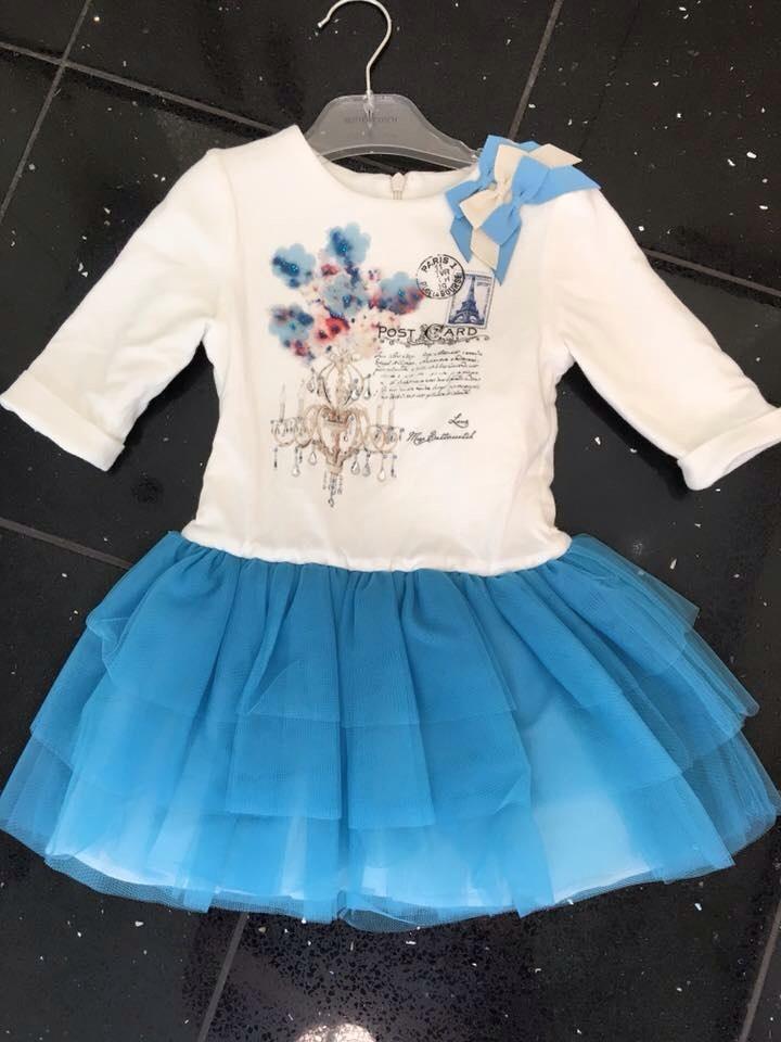 Girls Butterscotch Blue and Cream Dress