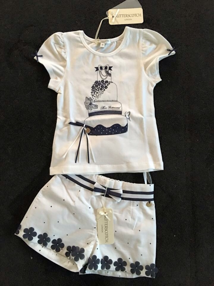 Girls Butterscotch Navy and White Daisy Shorts Set