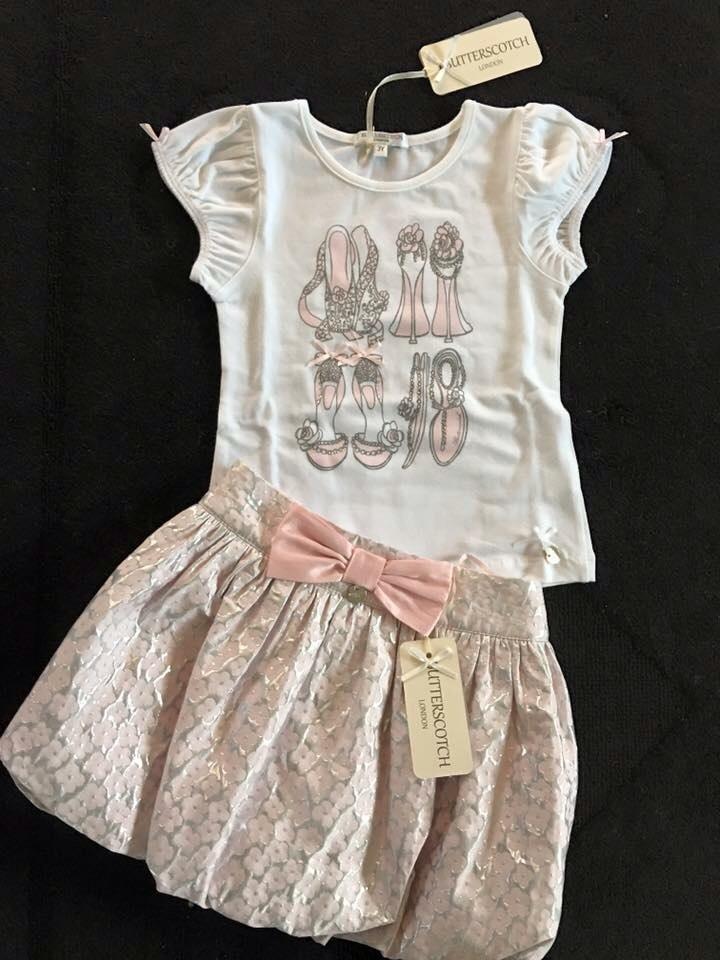 Girls Butterscotch Pink and Silver Skirt Set