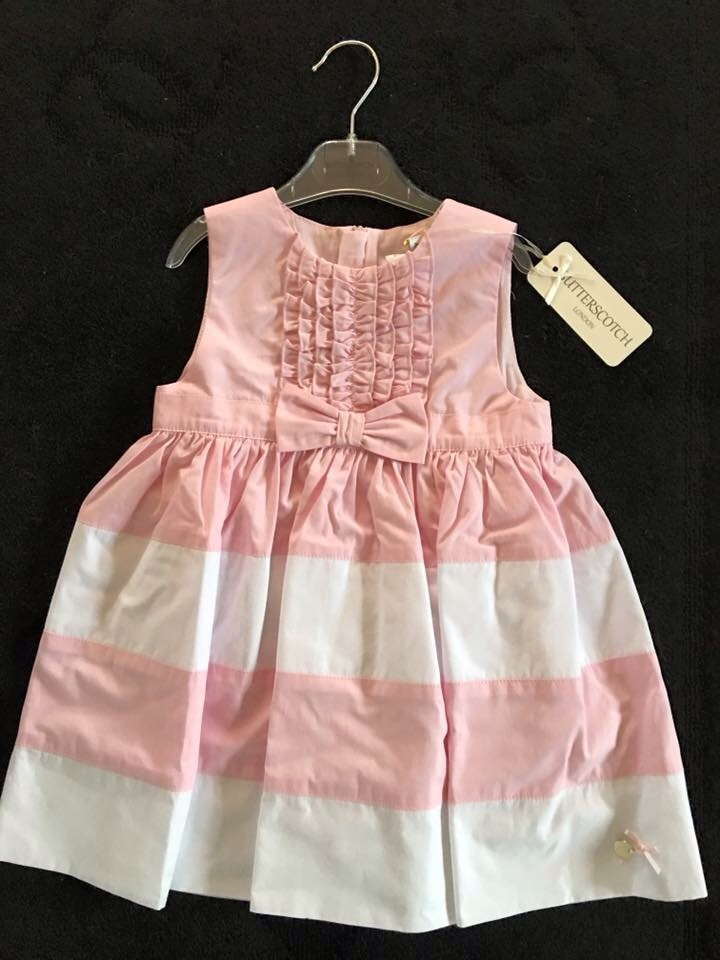 Girls Butterscotch Pink and White Dress