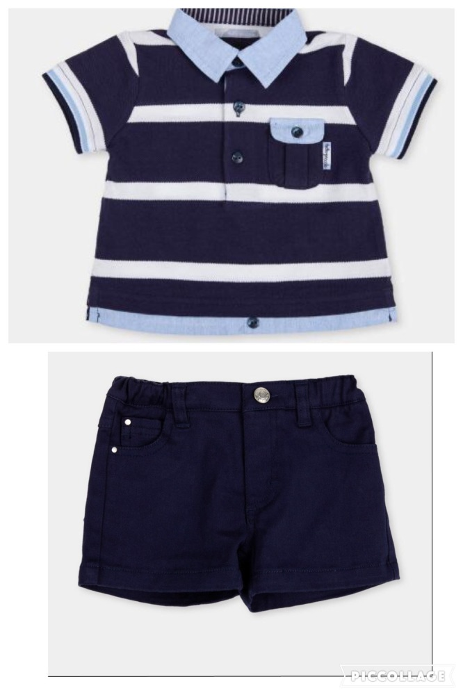 Boys Tutto Piccolo Navy, White and Blue T Shirt and Shorts Set 9010