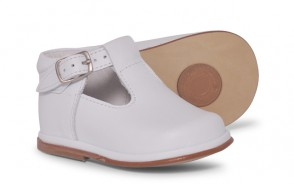 Boys Leather T Bar Shoes 2111 - White (Wide Fitting)