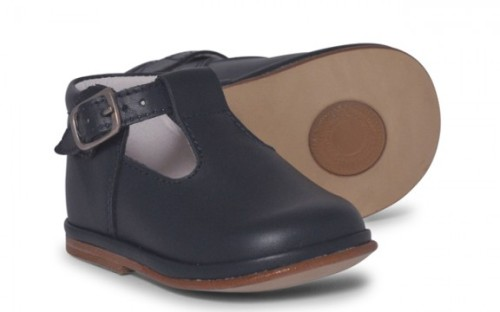 Boys Leather T Bar Shoes 2111 - Navy (Wide Fitting)