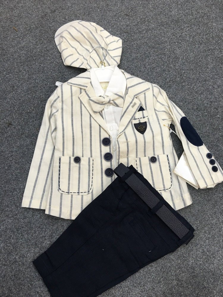 Boys Couche Tot Navy and Cream 6 Piece Set