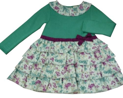 Girls Dolce Petit Lilac and Green Knit Dress