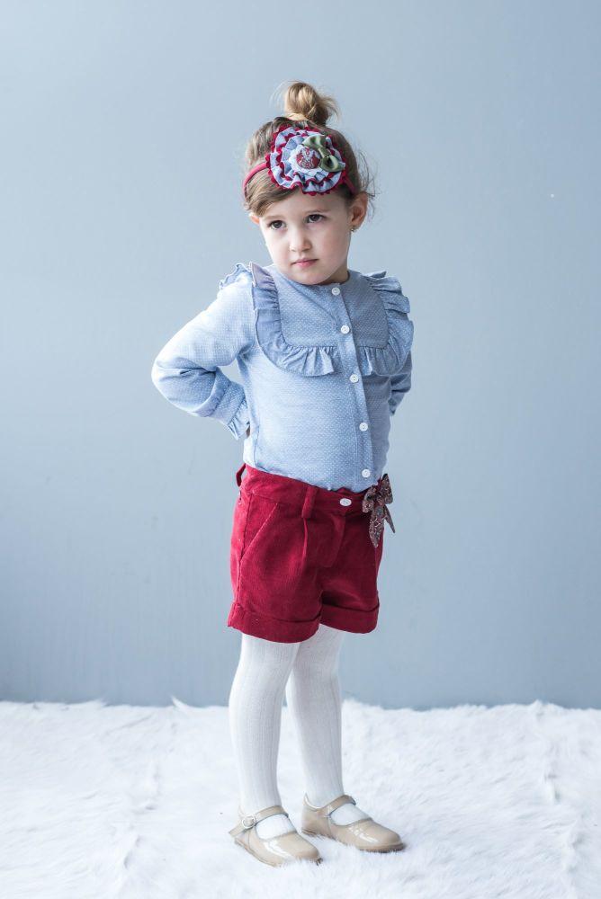 Girls Dolce Petit Burgundy and Blue Shorts Set