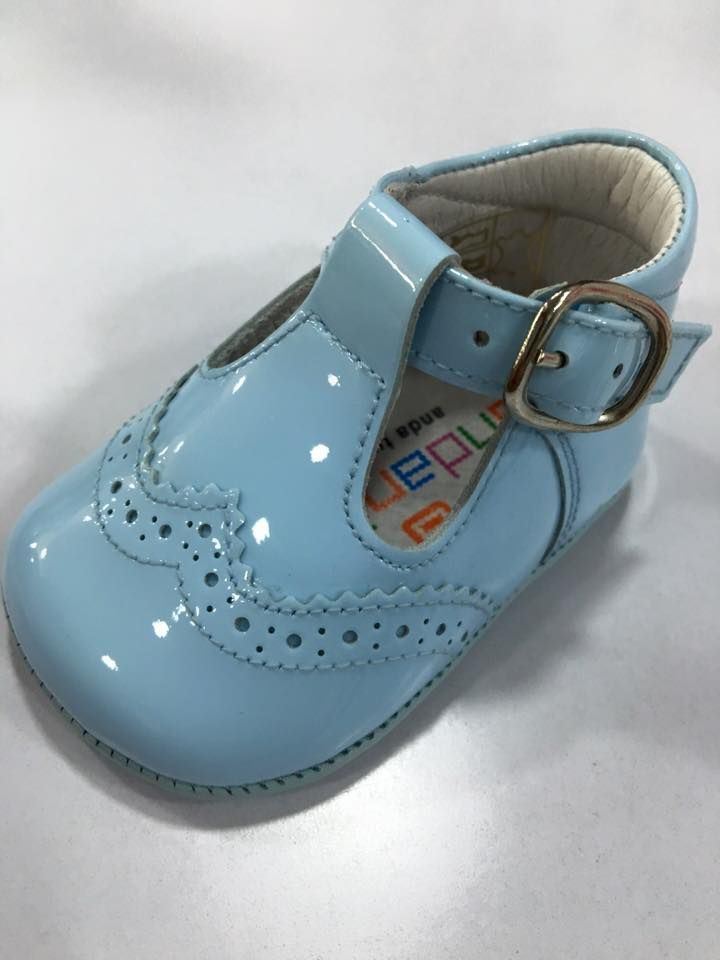 Boys Andanines Soft Sole T Bar Shoes - Blue
