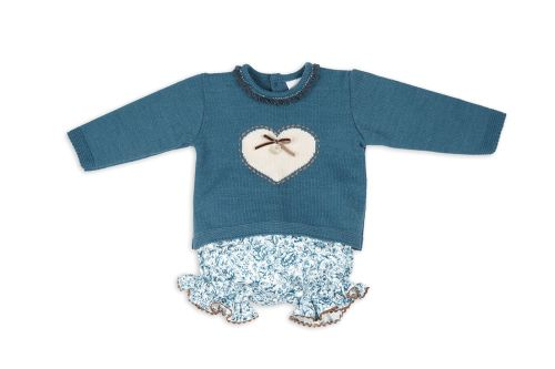 Girls Rochy Turquoise and Beige Knitted Jam Pants Set