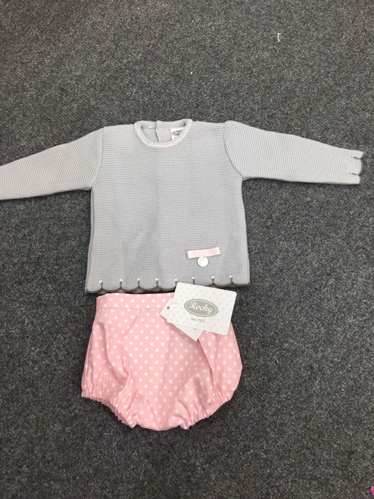 Girls Rochy Pink, White and Grey Knitted Jam Pants Set