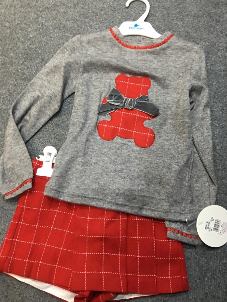 Girls Miranda Red, White and Grey Shorts Set *Available upto 16 years*