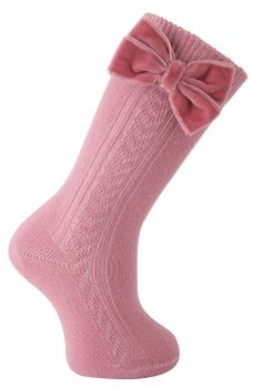 Girls Bow Socks - Velvet Bow - Avai;lable in Pink, Cream, Red, Camel, Green and Grey