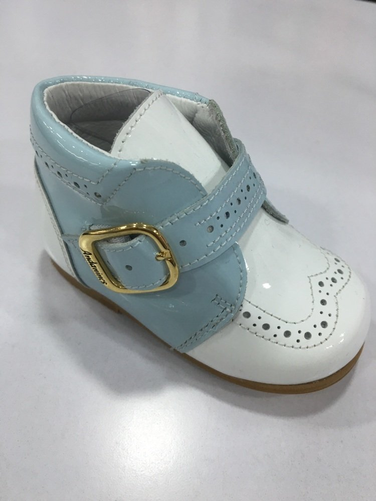 Boys Andanines Blue and White Patent Shoes