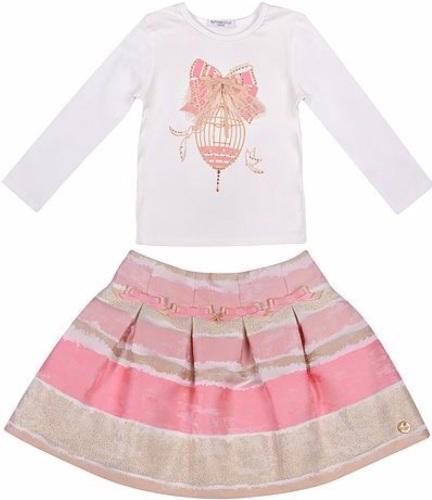 Girls Butterscotch Pink and Gold Skirt Set