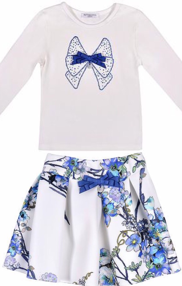 Girls Butterscotch Blue and White Top and Skirt Set