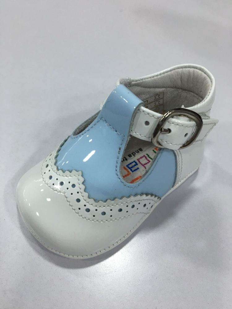 Boys Andanines Soft Sole T Bar Shoes - Blue and White