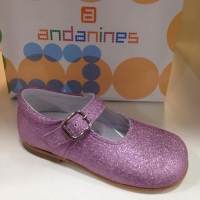 Girls Andanines Pink Sparkle Mary Janes