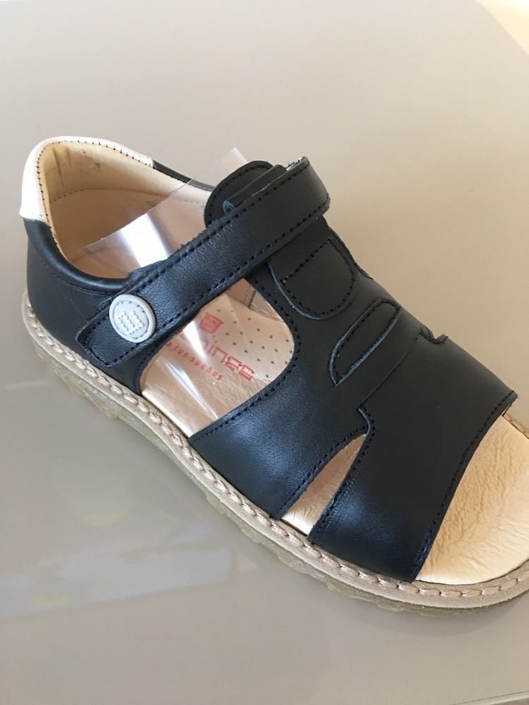 Biys Andanines Sandals Navy Leather with White