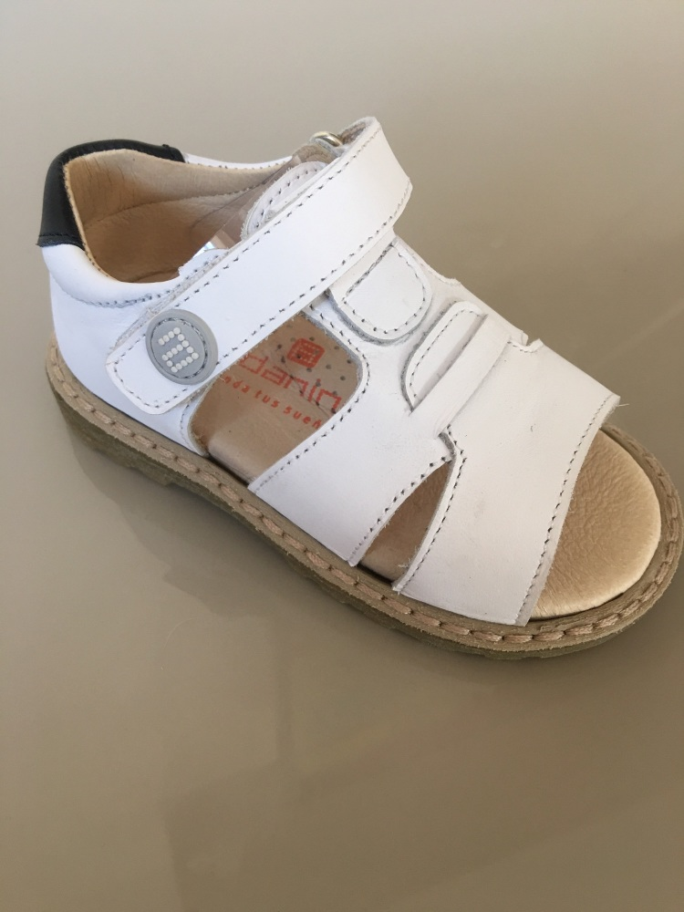 Boys Andanines Sandals White Leather with Navy