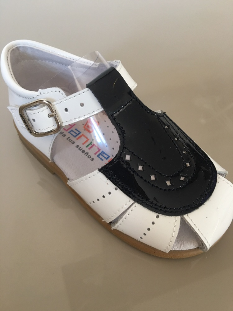 Boys Andanines Sandals White Patent with Navy