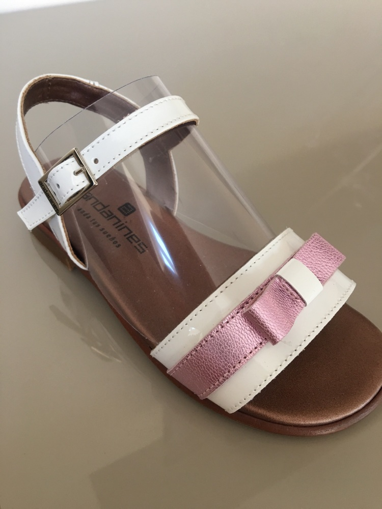 Girls Andanines Sandals White and Pink