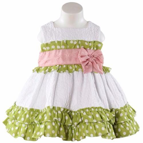 Girls Miranda Lime and White Dress 142