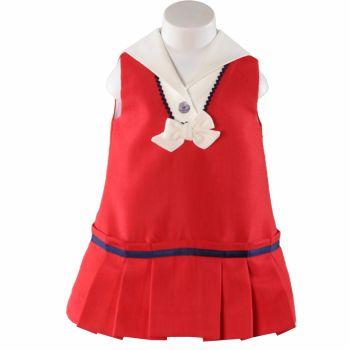 Girls Miranda Red, White and Navy Dress 192