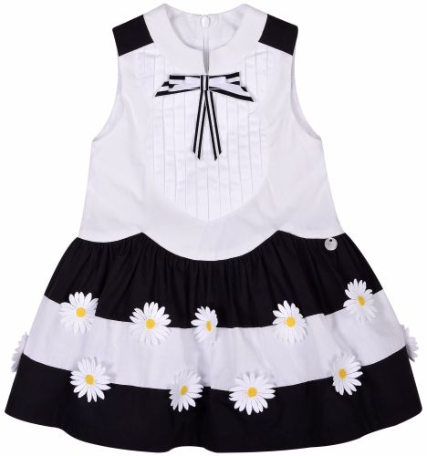 Girls Butterscotch Black and White Pleated Dress