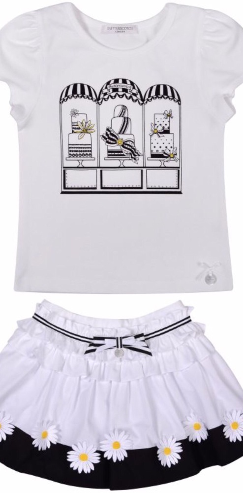 Girls Butterscotch Black and White Skirt Set