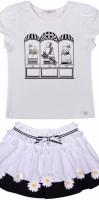 Girls Butterscotch Black and White Skirt Set