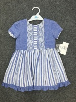 Girls Miranda Blue and White Dress 233