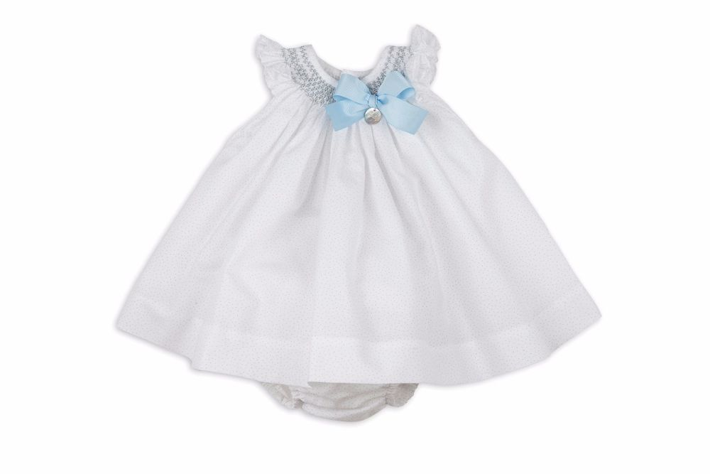 Girls Rochy White Grey And Blue Smocked Dress C01039